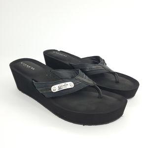 Coach | Jaden Black Wedge Flip Flops 7.5